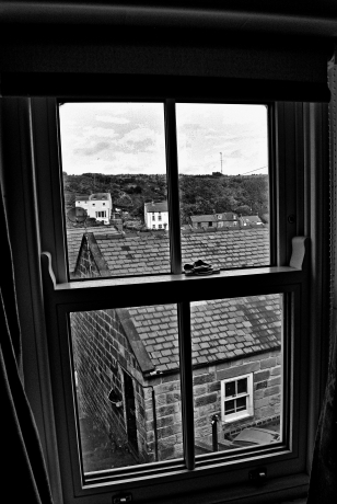Staithes Window bw
